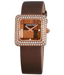 Audemars Piguet Brown Dial 18K Rose Gold Diamond Ladies Watch