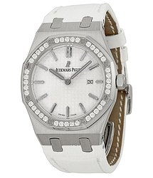 Audemars Piguet Royal Oak Silver Dial White Alligator Leather Watch 67651STZZD011CR01
