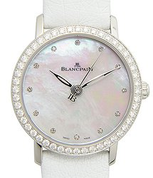 Blancpain Women Stainless Steel & Diamonds White Automatic 6102-4654-95A