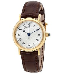 Breguet Classique Mother of Pearl Dial 18kt Yellow Gold Brown Leather Ladies Watch 8067BA52964