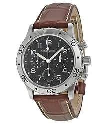 Breguet Type XX Aeronavale Automatic Chronograph Black Dial Brown Leather Men's Watch 3800ST929W6
