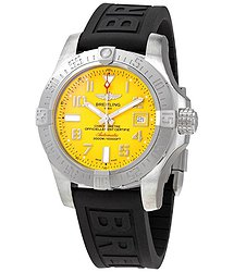 Breitling Automatic Yellow Dial Black Rubber Men's Watch