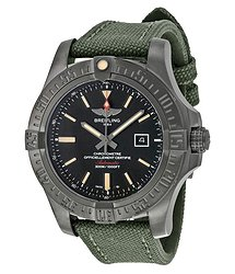 Breitling Avenger Blackbird Automatic Black Dial Green Canvas Strap Men's Watch