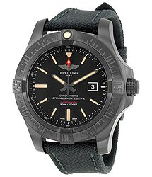 Breitling Avenger Blackbird Black Dial Canvas Military Strap Automatic Men's Watch