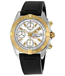 Breitling Chrono Galactic White Dial Black Rubber Strap Men's Watch