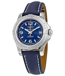 Breitling Colt 36 Blue Dial Blue Leather Quartz Ladies Watch