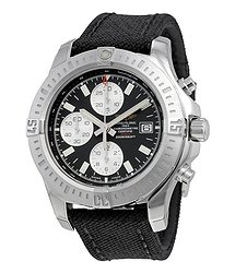 Breitling Colt Chronograph Automatic Black Dial Military Strap Men's Watch