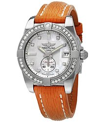 Breitling Galactic 36 Automatic Diamond Dial Orange Sahara Leather Watch