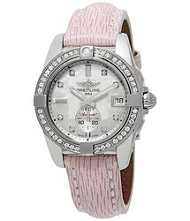 Breitling Galactic 36 Automatic Diamond Dial Pink Sahara Leather Watch
