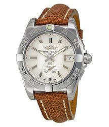 Breitling Galactic 36 Automatic Mother of Pearl Dial Brown Lizard Leather Unisex Watch