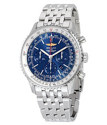 Breitling Navitimer 01 46MM Chronograph Aurora Blue Dial Stainless Steel Men's Watch AB012721-C889SS