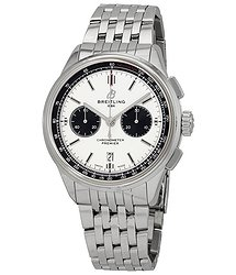 Breitling Premier Chronograph Automatic Chronometer Silver Dial Men's Watch