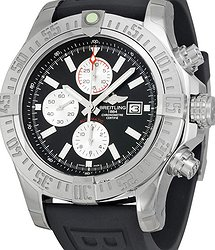 Breitling Super Avenger II Chronograph Automatic Black Dial Black Rubber Men's Watch A1337111-BC29BKPT3