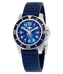 Breitling Superocean II 44 Automatic Metallic Blue Dial Blue Rubber Men's Watch A17392D8-C910BLPD3