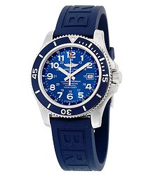 Breitling Superocean II 44 Automatic Metallic Blue Dial Blue Rubber Men's Watch A17392D8-C910BLPT3