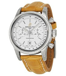Breitling Transocean Automatic Silver Dial Camel Leather Unisex Watch