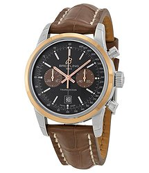 Breitling Transocean Chrono 38 Black Dial Brown leather Unisex Watch