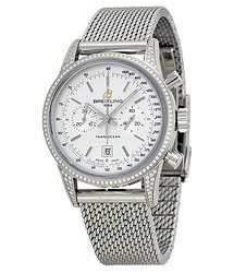 Breitling Transocean Chronograph Silver Dial Stainless Steel Unisex Watch A4131063-G757SS