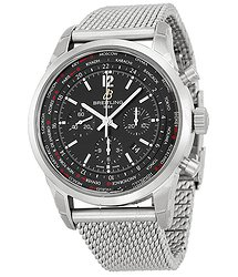 Breitling Transocean Chronograph Unitime Black Dial Steel Men's Watch AB0510U6-BC26SS.