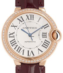 Cartier Ballon Bleu 18kt Rose Gold & Diamonds Silver Automatic WJBB0034