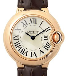 Cartier Ballon Bleu 18kt Rose Gold Silver Quartz WGBB0007
