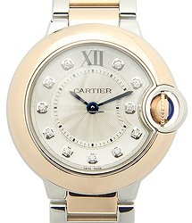Cartier Ballon Bleu 18kt Rose Gold & Steel Silver Quartz W3BB0005