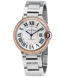 Cartier Ballon Bleu Automatic 18Kt Rose Gold Diamond Steel Ladies Watch