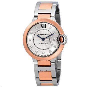 Купить часы Cartier Ballon Bleu Automatic Diamond Dial Ladies Steel and 18kt Rose Gold Watch  в ломбарде швейцарских часов