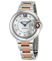Cartier Ballon Bleu Automatic Diamond Rose Gold and Stainless Steel Ladies Watch