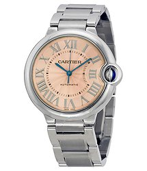 Cartier Ballon Bleu De Cartier Pink Dial Stainless Steel Watch