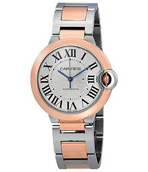 Cartier Ballon Bleu De Silvered Flinque Guilloche Dial Automatic Ladies Watch