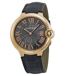 Cartier Ballon Bleu Mechanical Grey Dial Black Leather Strap Men's Watch