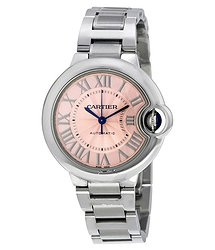Cartier Ballon Bleu Pink Dial Stainless Steel Automatic Ladies Watch