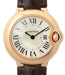 Cartier Ballon Bleu Silver Dial 18K Rose Gold Ladies Watch