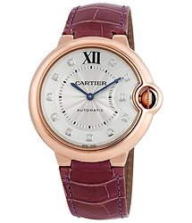 Cartier Ballon Bleu Silver Dial 18kt Rose Gold Purple Leather Unisex Watch