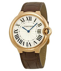 Cartier Ballon Bleu Silver Dial Brown Alligator Leather Men's Watch