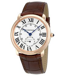 Cartier Ballon Bleu Silver Dial Brown Leather Men's Watch