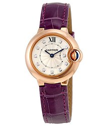 Cartier Ballon Bleu Silver Dial Diamond 18kt Rose Gold Ladies Watch