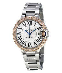 Cartier Ballon Bleu Silver Dial Stainless Steel Diamond Ladies Watch