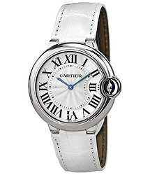 Cartier Ballon Bleu Silver Dial Stainless Steel White Leather Ladies Watch