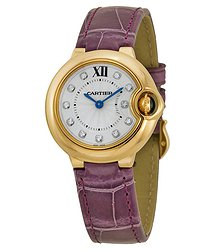 Cartier Ballon Bleu Silver Diamond Dial 18kt Rose Gold Purple Leather Ladies Watch