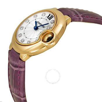 Купить часы Cartier Ballon Bleu Silver Diamond Dial 18kt Rose Gold Purple Leather Ladies Watch  в ломбарде швейцарских часов