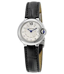 Cartier Ballon Bleu Silver Diamond Dial Black Alligator Leather