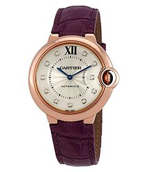 Cartier Ballon Bleu Silver Diamond Dial Ladies 18kt Pink Gold Watch