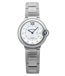 Cartier Ballon Bleu Silver Diamond Dial Ladies Watch