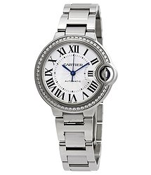 Cartier Ballon Bleu Silver Flinque Sunray Dial Ladies Watch