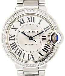 Cartier Ballon Bleu Stainless Steel & Diamonds Silver Automatic W4BB0016