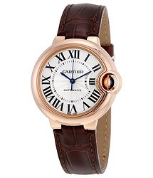 Cartier Balloon Bleu Silvered 18kt Pink Gold Opaline Flinque Dial Ladies Watch