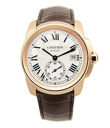 Cartier Caliber Silver Dial 18k Pink Gold Men's Watch