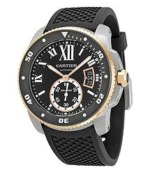 Cartier Calibre de Black Dial Black Rubber Men's Watch